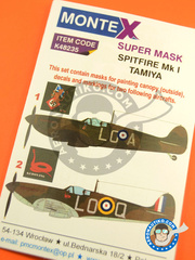 Montex Mask: Masks 1/48 scale - Supermarine Spitfire Mk. I - RAF (GB0) 1940 - for Tamiya kit image