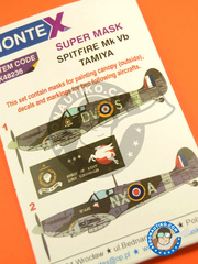 Montex Mask: Masks 1/48 scale - Supermarine Spitfire Mk. Vb - RAF (GB3); RAF (GB4) 1941 and 1942 - for Tamiya reference TAM61035 image