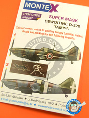 Montex Mask: Masks 1/48 scale - Dewoitine D.520 - Armée de l'Air (FR0) 1942 and 1943 - for Tamiya kit