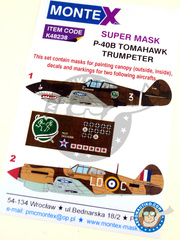 Montex Mask: Masks 1/48 scale - Curtiss P-40 Warhawk B Tomahawk - China, 1941 (TW2); Lybia, December 1941 (GB3) 1941 - for Trumpeter kit