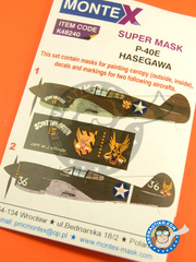 Montex Mask: Masks 1/48 scale - Curtiss P-40 Warhawk E - Darwin, Australia 1942 (US5); Darwin, Australia 1942 (US4) - Guadalcanal 1942 - for Hasegawa kit image