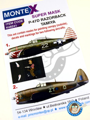 Montex Mask: Masks 1/48 scale - Republic P-47 Thunderbolt D - Italy, October 1944 (US5); Arkonam, November 1944 (GB5) 1944 - paint masks, water slide decals, placement instructions and painting instructions - for Tamiya kits