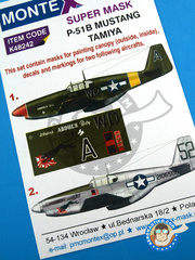 Montex Mask: Masks 1/48 scale - North American P-51 Mustang B - USAF (US7) 1944 - masks, decals - for Tamiya reference TAM61042 image
