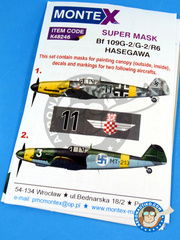 Montex Mask: Masks 1/48 scale - Messerschmitt Bf 109 G-2 - Finnish Air Force (FI1); September 1940 (DE2) 1942 and 1944 - for Hobby Boss reference 81750