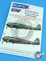 Montex Mask: Masks 1/48 scale - Nakajima Ki-43 Hayabusa Oscar II - IJAAF (JP0) 1944 and 1945 - for Hasegawa kit image