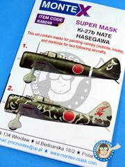 Montex Mask: Masks 1/48 scale - Nakajima Ki-27 Nate - IJAAF (JP0) 1939 and 1945 - for Hasegawa kit image