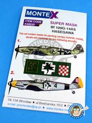 Montex Mask: Masks 1/48 scale - Messerschmitt Bf 109 G-14AS - September 1940 (DE2); Luftwaffe (DE2) 1945 - for Hasegawa kit image