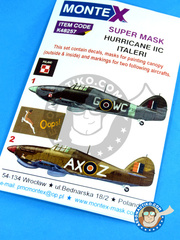 Montex Mask: Masks 1/48 scale - Hawker Hurricane Mk Iic - Italy, early 1944. (GB1); RAF (GB4) 1942 and 1944 - for Italeri kit image