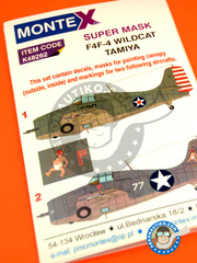 Montex Mask: Masks 1/48 scale - Grumman F4F Wildcat - US Navy (US4); (US5) 1942 - paint masks and placement instructions - for Tamiya kit image