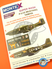 Montex Mask: Masks 1/48 scale - North American P-51 Mustang D - Italy 1944 (GB4); early 1945 (US7) 1944 and 1945 - paint masks, water slide decals, placement instructions and painting instructions - for Tamiya kits