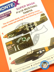 Montex Mask: Masks 1/48 scale - North American P-51 Mustang B 1944 - for Tamiya reference TAM61042