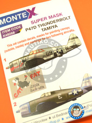 Montex Mask: Masks 1/48 scale - Republic P-47 Thunderbolt D Razorback 1944 - masks, decals - for Tamiya reference TAM61086 image