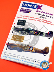 Montex Mask: Masks 1/48 scale - Supermarine Spitfire Mk Vb -  (GB3); Tunisia, June 1943 (US5) 1943 - paint masks, water slide decals, placement instructions and painting instructions - for Airfix kit