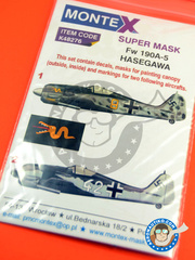 Montex Mask: Masks 1/48 scale - Focke-Wulf Fw 190 Würger A-5 - Deelen, July 1943 (DE2); Achmer, early summer 1943 (DE2) - Luftwaffe 1943 - paint masks, water slide decals, placement instructions and painting instructions - for Hasegawa kit