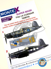Montex Mask: Masks 1/48 scale - Vought F4U Corsair 1A - October 1945. (NZ2); December 1943 (US7) 1943 and 1945 - paint masks, water slide decals, placement instructions and painting instructions - for Tamiya kit