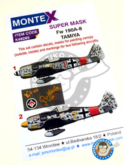 Montex Mask: Masks 1/48 scale - Focke-Wulf Fw 190 Würger A-8 - Luftwaffe (DE2); July 1943 (DE2) 1944 - for Italeri reference 2751