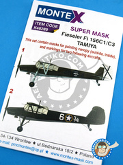 Montex Mask: Masks 1/48 scale - Fieseler Fi 156 Storch C - Luftwaffe (ES2); (US5) - , Spanish Civil War 1939 - for Tamiya reference TAM61100 image