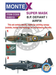 Montex Mask: Marking / livery 1/48 scale - Boulton Paul Defiant Mk I - RAF (GB3); RAF (GB1) 1940 - assembly instructions, paint masks and water slide decals - for Airfix reference A05128