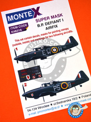 Montex Mask: Marking / livery 1/48 scale - Boulton Paul Defiant Mk I - RAF (GB4); July 1940 (GB3) 1940 - paint masks, water slide decals and assembly instructions - for Airfix reference A05128