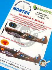 Montex Mask: Masks 1/32 scale - Supermarine Spitfire Mk. VIII - Burma 1944 (GB5);  (GB5) - RAF - paint masks, metal barrels, placement instructions and painting instructions - for Tamiya kit