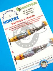 Montex Mask: Masks 1/32 scale - Messerschmitt Bf 109 E-4/7 - Ukranian Front, Spring 1942 (DE2); October 1943 (DE2) - barrels in metal and masks - for Eduard kit