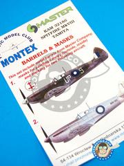 Montex Mask: Masks 1/32 scale - Supermarine Spitfire Mk. VIII - Ukranian - barrels in metal and masks - for Tamiya kit