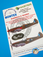 Montex Mask: Masks 1/32 scale - Supermarine Spitfire Mk. VIII - India, April - November 1944 (GB5); Burma, January 1945 (GB5) - different locations - paint masks and painting instructions, metal barrels - for Tamiya kit
