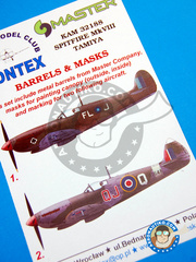 Montex Mask: Masks 1/32 scale - Supermarine Spitfire Mk. VIII - January 1944 (GB5); Treviso, Italy, 1946 (GB4) - RAF - metal barrels, paint masks and placement instructions - for Tamiya kit