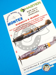 Montex Mask: Masks 1/32 scale - Messerschmitt Bf 109 F-4 - Finland, Summer 1942 (DE2); August 1942 (DE2) - Luftwaffe - paint masks and painting instructions, metal barrels - for Hasegawa kits