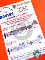 Montex Mask: Masks 1/48 scale - Messerschmitt Bf 109 K-4 - Echterdingen, May 1945 (DE2); May 1945 (DE2) - paint masks and metal barrels - for Hasegawa kit