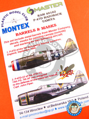 Montex Mask: Masks 1/48 scale - Republic P-47 Thunderbolt D Razorback - barrels in metal and masks - for Tamiya reference TAM61086