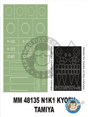 Montex Mask: Masks 1/48 scale - N1K1 Koyfu - paint masks and placement instructions - for Tamiy's kit reference 65107