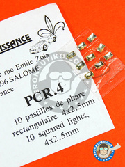 Renaissance Models: Lights - Square focus white 4 x 2mm  - other materials - 10 units