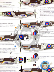 Renaissance Models: Marking / livery 1/48 scale - Supermarine Spitfire Mk Ixb - Biggin Hill, 1943 (GB4); Ford 1944 (GB4); Longues/Mer 1944 (GB4); Biggin Hill, October 1942. (GB4); Merston, June 1944 (GB4); Alsace, Wevelghem, October 1944 (GB4); Cuers, December 1944 (GB4); Décembre 1944 (FR0) 1942, 1943 and 1944 - water slide decals and placement instructions image