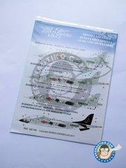 "Series Españolas: Marking / livery 1/48 scale - McDonnell Douglas AV-8S, TAV-8S ""MATADOR"" - 1976 - 1980 (ES0); 1976-1980 (ES0); 1980 - 1996 (ES0); Conmemorativo 250000 Horas de Vuelo (ES0) - Naval Station Rota 1976 - water slide decals and placement instructions"