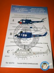 Series Españolas: Marking / livery 1/72 scale -  Bell UH-1 Iroquois B/N - Marina Española (ES0) - Naval Station Rota  (Cádiz) Spain 1965 - water slide decals and placement instructions