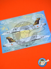 Series Españolas: Marking / livery 1/48 scale - McDonnell Douglas F/A-18 Hornet A - Báse Aérea de Gando (ES0) - Gando Air Base 50 anniversary  - water slide decals, assembly instructions and placement instructions - for AMT reference 779, or Hasegawa references 07384 and 09419