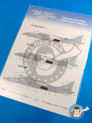 Series Españolas: Marking / livery 1/48 scale - McDonnell Douglas AV-8B Harrier AV-8B PLUS, AV-8B, TAV-8B - Armada Española (ES0) - water slide decals and placement instructions
