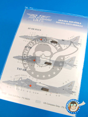 Series Españolas: Marking / livery 1/72 scale - McDonnell Douglas AV-8B Harrier AV-8B Plus / AV-8B / TAV-8B - Novena Escuadrilla, Spain (ES0) - Rota Naval Station 1990 - water slide decals and placement instructions - for all kits