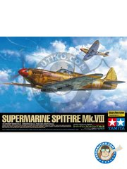 Tamiya: Airplane kit 1/32 scale - Supermarine Spitfire Mk.VIII - RAF - metal parts, paint masks, photo-etched parts, plastic parts, water slide decals and assembly instructions
