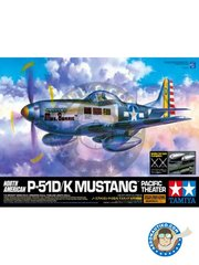 Tamiya: Airplane kit 1/32 scale - NORTH AMERICAN P-51D/K Mustang - January 1945 (US7); Iwo Jima, August 1945 (US7); 1945 (US7) - different locations - paint masks, photo-etched parts, plastic parts, water slide decals and assembly instructions