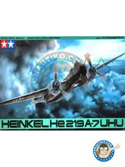 "Tamiya: Airplane kit 1/48 scale - Heinkel He 219 A-7 ""Uhu"" - May 1945 (DE2) - plastic parts, water slide decals and assembly instructions"