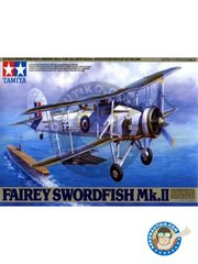 Tamiya: Model kit 1/48 scale - Fairey Swordfish Mk.II - 1943 - 1944 (GB4); 1943 (GB4); 1942 (GB4) - RAF - plastic parts, water slide decals and assembly instructions