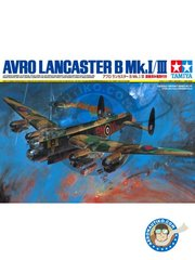 Tamiya: Airplane kit 1/48 scale - Avro Lancaster B Mk.I/III -  (GB4) - RAF - plastic parts, water slide decals and assembly instructions