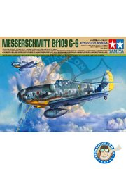"Tamiya: Airplane kit 1/48 scale - Messerschmitt Bf109 G-6 ""Gustav"" - October 1943 (DE2); December 1943 (DE2); February 1944 (DE2) - Luftwaffe 1943 - paint masks, plastic parts, water slide decals and assembly instructions"