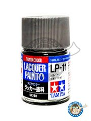 Tamiya: Lacquer paint - Tamiya LP-11 Silver gloss - 10ml jar - for all kits
