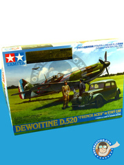 Tamiya: Airplane kit 1/48 scale - Dewoitine D.520 - Colmar 05/1945 (FR3); Armée de l'Air (FR0); Colmar, 04/1945 (FR3) 1940 and 1942 - plastic parts, water slide decals and assembly instructions image