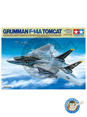 Tamiya: Airplane kit 1/48 scale - Grumman F-14 Tomcat A - USS Nimitz, 1979 (US0); USS Enterprise, 1976 (US0); Tactical Fighter Base 8, 1980 (IR0) - different locations - paint masks, plastic parts, water slide decals and assembly instructions image