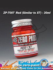 Zero Paints: Paint - Red - Similar to Tamiya X-7 - 30ml - for airbrush