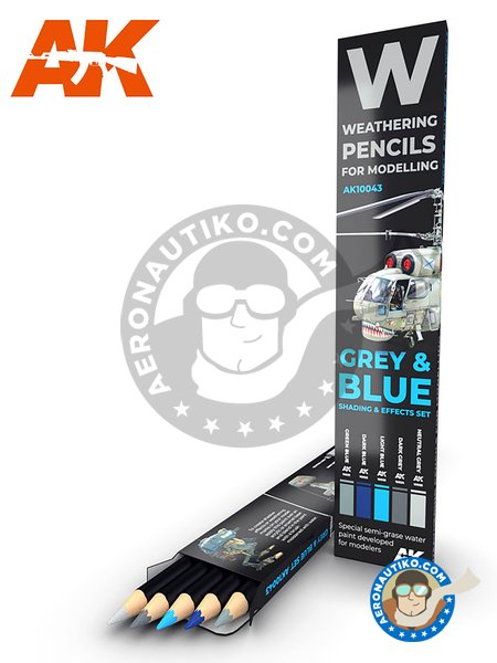 Special weathering pencils set. Grey and blue. | Pencils set manufactured by AK Interactive (ref. AK-10043) image